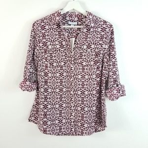 Charter Club Button Down Shirt Blouse Baroque